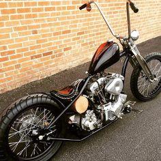 Harley Davidson Shovelhead chopper with chainside rear brake #harleydavidsoncustommotorcyclesiron883 #harleydavidsonbreakout #harleydavidsonbobbersoldschool