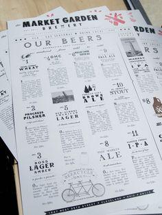 Art of the Menu: Market Garden Brewery Art der Speisekarte: Market Garden Brewery Menu Restaurant, Restaurant Identity, Restaurant Design, E Design, Design Crafts, Graphic Design, Print Design, Design Market, Market Garden Brewery