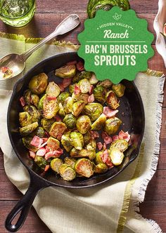 Oven Roasted Brussels Sprouts With Bacon A Family Feast – And Since Pretty Much … Coles de Bruselas asadas con … Sprout Recipes, Vegetable Recipes, Diet Recipes, Cooking Recipes, Healthy Recipes, Skillet Recipes, Fall Recipes, Healthy Snacks, Healthy Eating