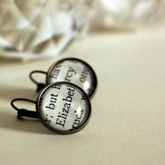 Book Earrings Jane Austen drop earrings Elizabeth and by Bookity, $24.95