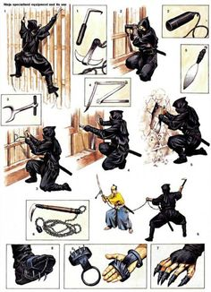 The ninja could use a diverse array of specialized weapons and equipment under appropriate circumstances. The majority of these ninja tools appear in Bansen Shukai, a famed seventeenth-century ninja manual. Ninja Kunst, Art Ninja, Ninja Gear, Ninja Training, Martial Arts Weapons, Martial Arts Techniques, Armadura Medieval, Shadow Warrior, Fantasy Weapons
