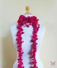 FUCHSIA  pom pom scarf  chunky lariat  by OriginalDesignsByAR, $12.95