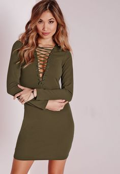 Missguided - Lace Up Long Sleeve Bodycon Dress Khaki