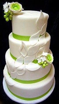 Green Wedding Cake... Wedding ideas for brides, grooms, parents  planners ... https://itunes.apple.com/us/app/the-gold-wedding-planner/id498112599?ls=1=8 … plus how to organise an entire wedding ♥ The Gold Wedding Planner iPhone App ♥