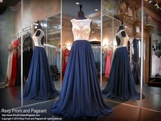 Dance the night away in this gorgeous navy chiffon prom dress with its high neckline completely covered with sparkling crystals. The open back complete this fun and flirty look. Beautiful and it's at Rsvp Prom and Pageant, your source for the hottest 2016 Prom Dresses!