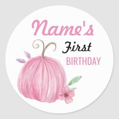 Shop birthday Flower Girl Pumpkin Pink Sticker Any Age created by NeonBlooms. 1st Birthday Favors, Pink Birthday, Pumpkin Flower, Baby In Pumpkin, Pumpkin 1st Birthdays, First Birthdays, Pumpkin Gender Reveal, Chevron Pumpkin, Pink Tractor