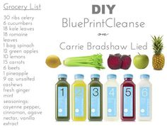 Recipes for the BluePrint cleanse juices with specific measurements of the ingredients.