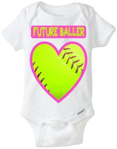 "Softball Baby Girl Gift: Softball Onesie - ""Future Baller"" Softball Heart Baby Shirt in Hot Pink & Neon Green! Perfect outfit for the Sporty Baby Girl!  Great Baby Shower Gift!  Available Here: www.etsy.com/shop/LittleFroggySurfShop"