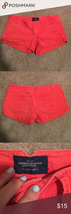 AMERICAN EAGLE Favorite short Coral/salmon colored! Super cute! Some of my favorite shorts they just don't fit anymore! They are a bright fun color but still so versatile! One cuff sewn in. American Eagle Outfitters Shorts