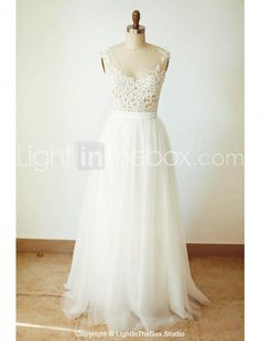 A-line Wedding Dress Floor-length V-neck Tulle with Appliques / Button / Sash / Ribbon 2017 - $109.99