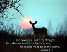 Habakkuk 3:19   - The Sovereign Lord is my strength; he makes my feet like the feet of a deer, he enables me to go on the heights.