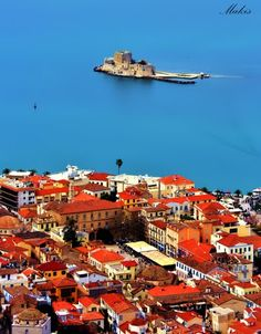 VISIT GREECE| View of Nafplion & Bourtzi castle in the sea, from Palamidi #Greece