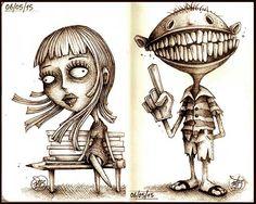 Series of quick concepts made with Sepia Pens on cm Dark Art Illustrations, Dark Art Drawings, Character Illustration, Illustration Art, Shetland, Portrait Cartoon, Wow Art, Art Challenge, Horror Art