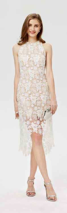 Sheath / Column Jewel Neck Asymmetrical Lace Cocktail Party Dress with Lace