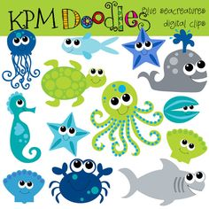 INSTANT DOWNLOAD Blue Sea Creatures digital clip art by kpmdoodles, $3.65