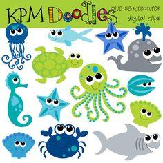 INSTANT DOWNLOAD Blue Sea Creatures digital clip art by kpmdoodles