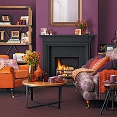 Purple Living Room With Wooden Furniture