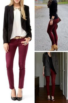 Burgundy Pant Outfits Made Easy - Jenn Loyd- Your Personal Wardrobe Stylist - - The Body Type Stylist: Burgundy Pant Trend Outfits Made Easy Source by TheEverydayStandard Casual Work Wear, Casual Work Outfits, Business Casual Outfits, Mode Outfits, Fall Outfits, Burgundy Pants Outfit, Slacks Outfit, Burgundy Jeans, Outfit Pantalon Vino