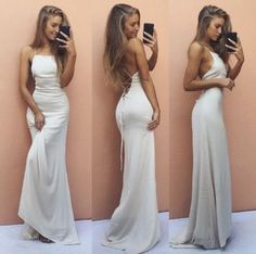 White Backless Sleeveless Formal Dress Sexy Mermaid Spaghetti Strap Cheap Prom Dress PD20185694