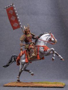 Kolobob elite Soldier: Japanese Samurai with Naginata (Halberd) and Flag of Clan #Kolobob