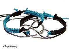 Couple Bracelets Infinity Bracelets Friendship by ElwynJewelry Couple Jewelry, Couple Bracelets, Cord Bracelets, Infinity Bracelets, Pearl Necklaces, Fashion Bracelets, Fashion Jewelry, Bracelet Crafts, Bracelet Tutorial