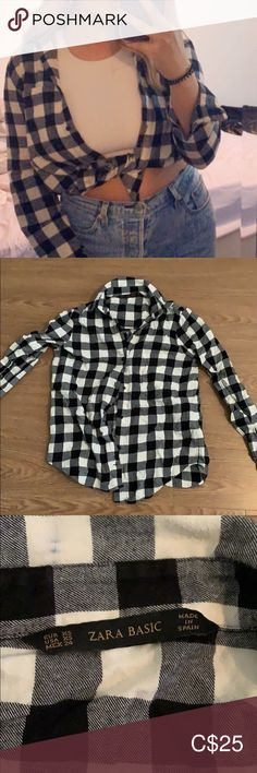 Zara basic checkered shirt Barely worn Great condition Zara basic Black and white shirt Zara Sweaters Plus Fashion, Fashion Tips, Fashion Design, Fashion Trends, Black And White Shirt, Zara Black, Sweaters For Women, Shirts, Outfits