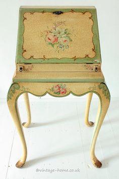 Vintage Home Shop - Beautiful Hand Painted Floral Antique Lady's Writing Bureau: www.vintage-home.co.uk