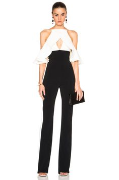 Image 1 of David Koma Shoulder Ruffle Jumpsuit in Black & White
