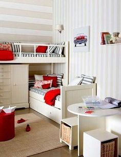 Shared rooms - bunk beds and gorgeous striped walls Girl Room, Girls Bedroom, Bedroom Ideas, Comfy Bedroom, Small Bedrooms, Master Bedroom, Bedroom Decor, Beds For Small Rooms, Bunkbeds For Small Room