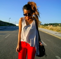 #redjeans#whitetop#curlyponytail
