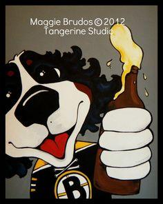 bruins fanatic beer Boston  dog Whimsical ART by tangerinestudio, $45.00