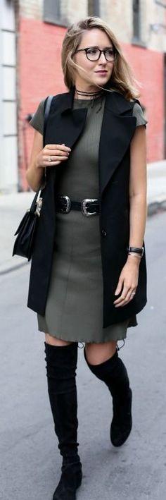 olive green knit t-shirt dress, black long vest, black double-buckle statement belt, over the knee boots, black shoulder bag, wrap choker + glasses {whowhatwear x target, b-low the belt, stuart weitzman, m2malletier, fallon}