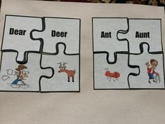 Teaching homophones, the kids are given a bunch of puzzle pieces, and they have to match pictures with words!