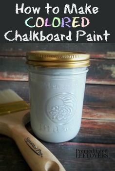 How to Make Colored Chalkboard Paint - This easy and frugal DIY project includes a recipe for homemade chalkboard paint, a tutorial, and tips for using chalkboard paint in your home decor. Homemade chalkboard paint is perfect for making unique crafts, for art projects, DIY decor ideas, and Christmas gifts. http://premeditatedleftovers.com/naturally-frugal-living/how-to-make-colored-chalkboard-paint/