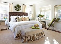 Love the ottoman cover... One long ruffle--simple and pretty