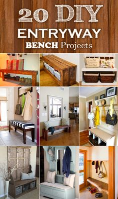 20 interesting DIY benches ideas, that will not only look wonderful in your mudroom, but also increase storage capacity.