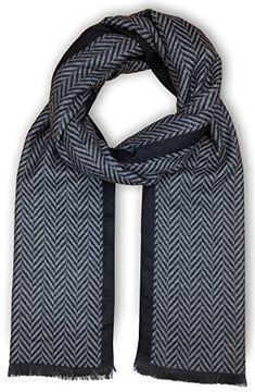Men Scarf Faurn Winter Fall Plaid Stripes Long Cashmere Pashmina Feel Warm Scarves