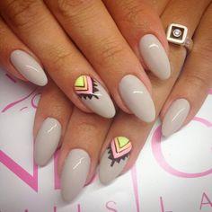 by Natalia Kondraciuk Indigo Young Team :) Find more inspiration at www.indigo-nails.com #nailart #nails #indigo #new #grey #pastel #aztec #topsecret #top #secret