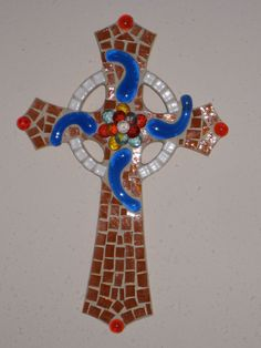 Blue Swirls and Amber Glass Mosaic Cross by StarStruckMosaics, $35.00