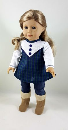 Navy Plaid Tunic & Indigo Skinny Jeans made to fit 18 inch dolls by ILuvmCreations on Etsy American Girl Dress, American Girl Crafts, American Doll Clothes, Ag Doll Clothes, American Girls, Doll Sewing Patterns, Doll Clothes Patterns, Clothing Patterns, Boy Doll