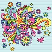 Groovy colorful animated notebook style doodles