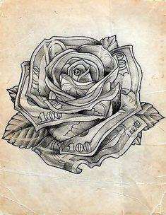 8cb445699 Hundred Dollar Bill Rose Floral Tattoo Design | Tattoos | Tatuagem ...
