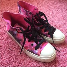 Galaxy print high tops Converse like high tops pink purple galaxy print. Worn once Forever 21 Shoes