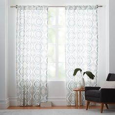 Curtain idea for living room. West Elm. Our Showhouse | Young House Love