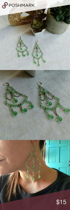 Arden B Green Chandelier Earrings Gorgeous silver & green bead chandelier earrings. Large statement piece! Great for summer looks. Jewelry Earrings