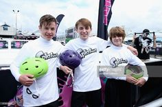 Actors Nolan Gould, Dylan Riley Snyder and Ty Simpkins attend Celebrity Nintendo Splatoon Mess Fest on May 15, 2015 in Los Angeles, California.