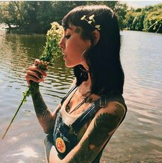 """"""" With Hannah at the lake. Little sneak into Issue Cover Story for Off The Rails Mag ( """" Sexy Tattoos, Girl Tattoos, Spiritual Tattoo, Hannah Pixie Snowdon, Grace Neutral, Henna, French Girls, Grunge Hair, Goth Hair"""