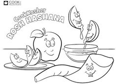 Free Rosh Hashanah coloring pages for kids | Dip the Apple ...