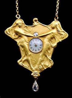 TITLE: Art Nouveau Pendant/Watch The Dance of Time  WORK DATE: 1900  CATEGORY: Jewelry and Gemstones  MATERIALS: Gold & diamond