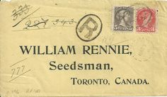 1896 22nd March cover, William Rennie Seedsman,from Bellingham to Toronto